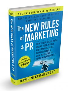 A 3D image of the book The new rules of marketing and PR by David Meerman Scott